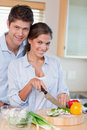 Portrait of a married couple cooking Stock Images