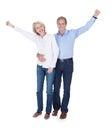 Portrait of mature couple enjoying success happy lovely isolated over white background Stock Photo
