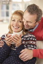 Portrait mature couple relaxing at home Stock Photo