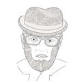The portrait of mature men Zen Tangle. Aged person in a hat and glasses. Coloring book.