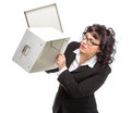 Portrait of mature woman with box wearing glasses looking at c isolated on white camera camera Royalty Free Stock Photos