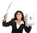 Portrait of mature woman with box wearing glasses looking at c isolated on white camera camera Royalty Free Stock Photography