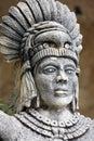 Portrait of mayan warrior stone on yucatan peninsula mexico Stock Images