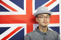 Portrait of a mid adult man against british flag Royalty Free Stock Photography