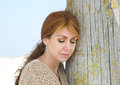 Portrait of a middle aged woman looking sad Royalty Free Stock Photo