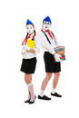 Portrait of mimes with books Royalty Free Stock Photos