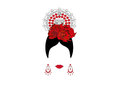Portrait of modern Latin or Spanish woman, Lady with accessories peineta and red flower , Icon isolated, Vector illustration Royalty Free Stock Photo