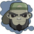 Portrait of Monkey Hipster with dark cap print for t-shirt. Monkey head for poster