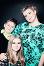 Portrait of mother and children real people two Stock Image
