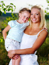 Portrait of  mother and daughter outdoors Stock Photo