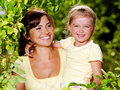 Portrait of  mother and daughter outdoors Royalty Free Stock Photography