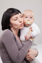Portrait of mother with her baby boy happy and motherhood concept Stock Photography