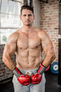Portrait of a muscular man wearing red boxing gloves at the gym Royalty Free Stock Photos