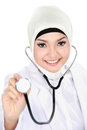 Portrait of muslim asian female medical doctor isolated over white background Royalty Free Stock Photography