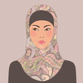 Portrait of muslim beautiful oriental girl in patterned hijab illustration Stock Photos