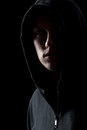 Portrait of mysterious man in the dark Royalty Free Stock Photo