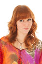 Portrait naughty red haired girl of beautiful with colorful blouse Royalty Free Stock Photography