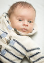 Portrait of newborn baby boy in wool sweater Royalty Free Stock Photo