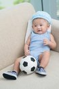 Portrait newborn soccer ball Royalty Free Stock Images