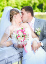 Portrait of newly married couple kissing at park at sunny day Royalty Free Stock Photo