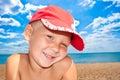 Portrait of the nice boy on seacoast Royalty Free Stock Photo