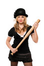 Portrait of nice girl with a bat Royalty Free Stock Images