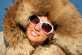 Portrait of nice girl in fox fur winter woman beauty model fashion beautiful Stock Photos