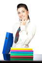 Portrait of a nice woman with office folders Stock Images