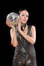 Portrait of nice young brunette with a mirror ball Royalty Free Stock Image