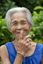 Portrait old Asian woman with gestures Stock Image
