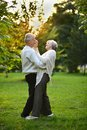 Portrait of old couple dancing in autumn forest Royalty Free Stock Photo
