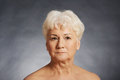 Portrait of an old nude woman. Royalty Free Stock Photo