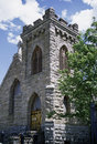 Portrait of an old stone built church virginia city montana very in s historic territorial capitol Stock Photos
