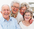 Portrait of older people smiling happily Stock Images