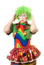 Portrait of pensive female clown Stock Images