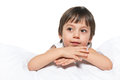 Portrait pensive little boy white Royalty Free Stock Image