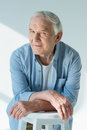 Portrait of pensive senior man in stylish shirt Royalty Free Stock Photo