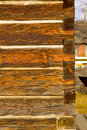 Portrait photo of antique square log construction Stock Photography
