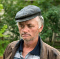 Portrait of poor man on natural background Royalty Free Stock Images
