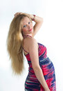 Portrait pregnant blonde beautiful bright dress Royalty Free Stock Image