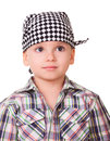 Portrait preschool kid bandanna shirt isolated white Royalty Free Stock Image