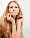 Portrait pretty blond woman long hair indoors portrait Royalty Free Stock Photography
