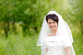 Portrait of pretty brunette bride Stock Images