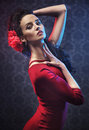 Portrait of a pretty flamenco dancer Royalty Free Stock Photo