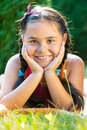 Portrait of pretty hispanic girl in summer day Royalty Free Stock Photo