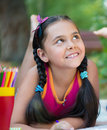 Portrait of pretty hispanic in summer day Royalty Free Stock Photo