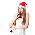 Portrait of pretty Santa girl laughing Royalty Free Stock Images