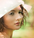 Portrait of pretty tender beautiful young female face Stock Photos