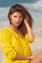 Portrait of pretty woman on beach