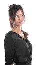 Portrait of pretty woman in black unsure and thinking isolated o Royalty Free Stock Photo